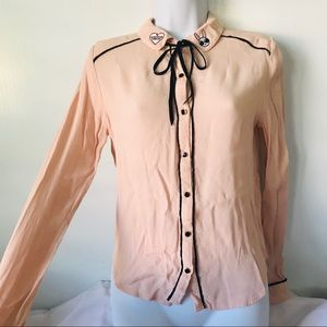 Creamy button down shirt with self tie neck